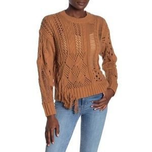 360 Cashmere Tenley Cable Knit Fringe Sweater